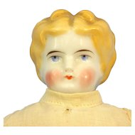 Blonde China-Head Doll, Dressed