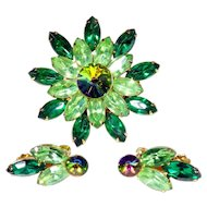Watermelon Rivoli Pin & Earrings, Green Navettes