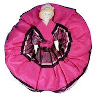 Bisque Bonnet Doll in Vivid Silk Pincushion