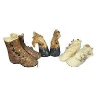 3 Pair Antique Shoes for Babies, Big Dolls