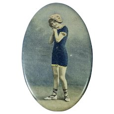 Celluloid Real Photo Bathing Beauty Mirror