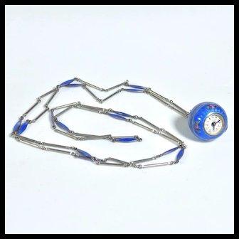 Guilloche Enamel Bucherer Ball Watch Necklace