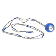 Guilloche Enamel Bucherer Ball Watch Necklace