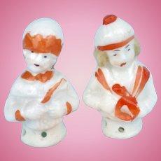 2 Tiny German Half Dolls, Boy & Girl