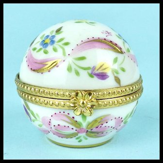Vintage Round Limoges Box, Flowers, Hand Painted
