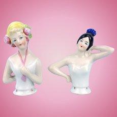 2 Pretty German Pincushion Dolls