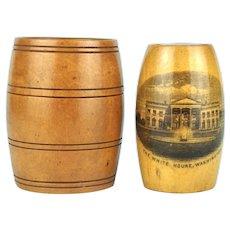 2 Treen Mauchline Ware Barrels, White House