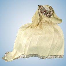 Unusual Dress with Train, Silver & Beaded Trim
