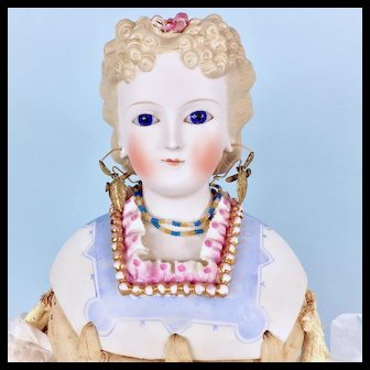 Parian Lady, Fancy Shoulderplate, Glass Eyes, Antique Clothing