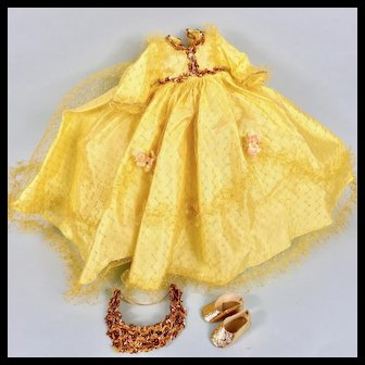 "Yellow Madame Alexander 14"" Sleeping Beauty Dress, Tiara, Shoes, Stockings"