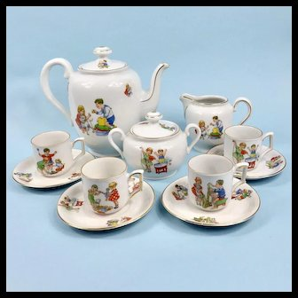 German Mitterteich Tea Set Colorful Children & Pets Playing