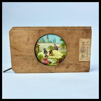 Plank Mechanical Magic Lantern Slide, Children on Seesaw