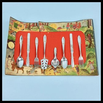German Toy Silverware Set on Original Card
