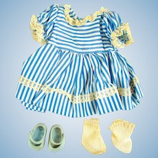 "Blue & White Dress, Shoes, Socks for 8"" Dolls"