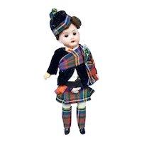 All Original Bisque Head Boy Scottish Doll