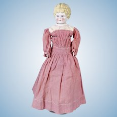 Turned Head Blond China Head, Molded Bodice, Old Clothing