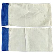 Vintage Doll Pillowcases, White, Blue Trim