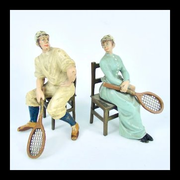 Austrian Cold Painted Bronze Man & Lady Tennis Players