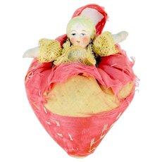 Hertwig Half Bisque Peasant Girl Pincushion