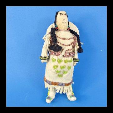 Native American Beaded Deerskin Woman & Baby in Cradleboard
