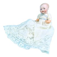 """7"""" Early Japanese Bisque Character Baby, Beautiful Clothing"""