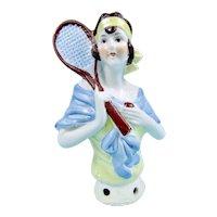 German Flapper Tennis Player Half Doll
