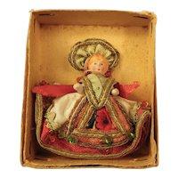 Tiny All Bisque Doll, Elaborate Hungary Costume, Original Box
