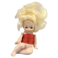 All Original Hertwig Baby Bathing Beauty, Jointed Arms, Wig