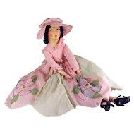 All Original Brucilla Boudoir Doll, Embroidered Dress, Cloth Face, Eyelashes