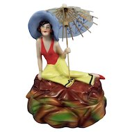 Big Beautiful Flapper Bathing Beauty Figural Powder Box