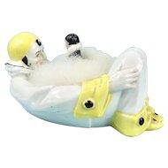 Big Pierrot China Powder Bowl & Clown Swan Down Puff