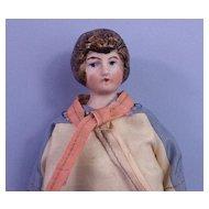 All-Original Bisque Head Dollhouse Lady, Brown Chignon
