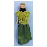Bisque Head Dollhouse Lady, Evening Gown, Blonde Chignon