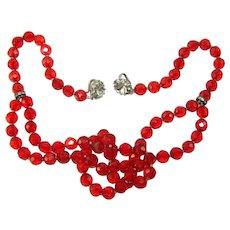 Vintage Judith McCann Shuvon Red Crystal Rhinestone Multi Use Necklace Bracelet Wraps