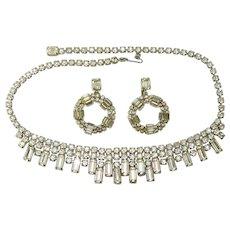 Vintage WEISS Necklace Earring Set Baguette Rhinestones