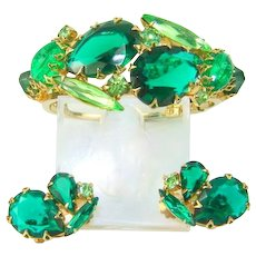 Vintage Bracelet Earrings Large Green Rhinestone Clamper Set