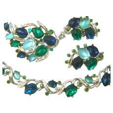 Vintage BSK Necklace Brooch Earrings Fruit Salad GLOWING LEAVES Blue Green Set