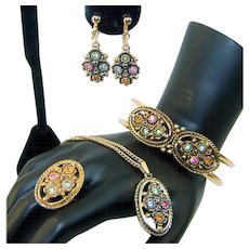 Vintage EMMONS Rhinestone Necklace Bracelet Earrings Ring Set