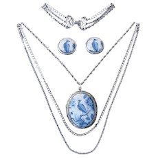 Vintage GOLDETTE Necklace Earrings Large Porcelain Glass Peacock Locket Blue White Set