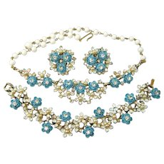 Vintage Enamel BLUE ROSES Necklace Bracelet Earrings Faux Pearl Rhinestone Parure