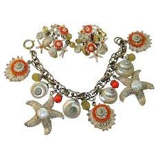 Vintage Signed ART Bracelet Earrings Starfish Shells Faux Coral Charm Set