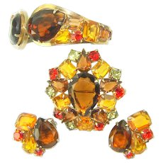 Vintage JULIANA D&E Bracelet Brooch Earrings Over Sized Pear Rhinestone Book Pc. Amber Topaz Orange Set