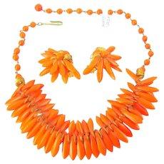 Vintage Orange Glass Spikes Necklace Earrings Egyptian Revival Set Signed