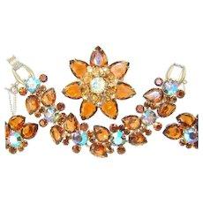 Vintage Juliana Bracelet Brooch Earrings Large Amber Pears AB