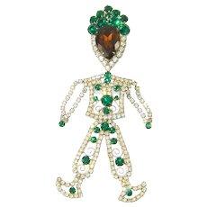 Vintage Juliana RARE Aladdin Articulated Pin Pendant Rhinestones Green Topaz Huge