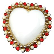Vintage HAR Heart Brooch Large Milk Glass Red Rhinestones