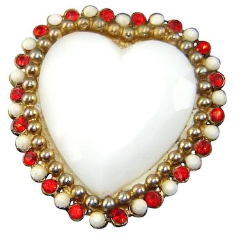Vintage HAR Heart Brooch Large Milk Glass Red Rhinestones