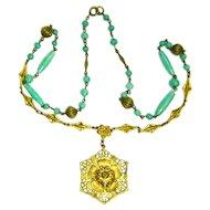 Vintage Czech Necklace Green Peking Glass Ornate Brass Pendant