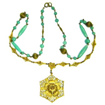 Vintage Czech Necklace Green Peking Glass Ornate Brass Pendant