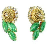 Vintage Juliana Earrings Jade Green Navettes Filigree Balls Rhinestone